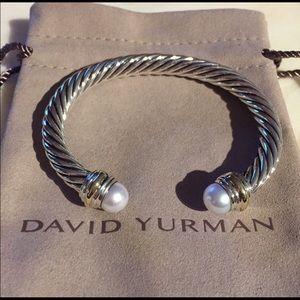 David Yurman 7mm Two Tone Pearl Cable Bracelet